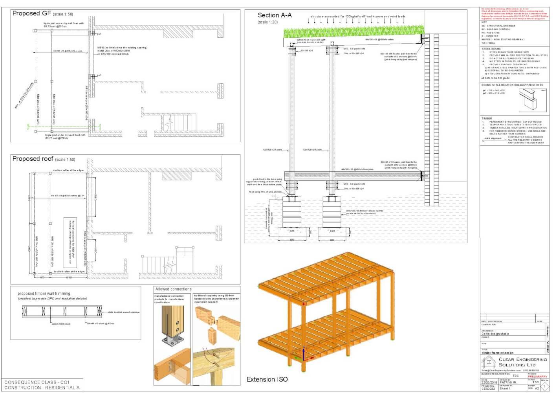 Timber framed extension using Walter Segal method